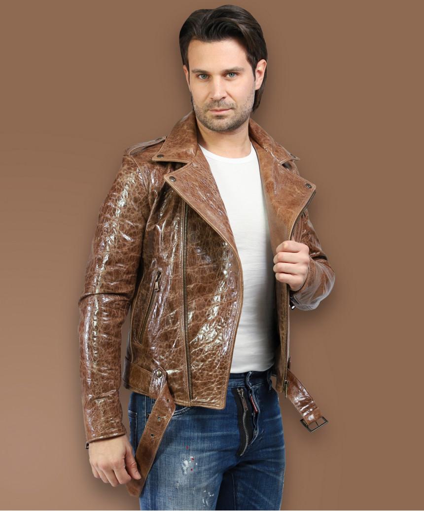 Biker Women - Jacket of Genuine Distressed White Leather - 2
