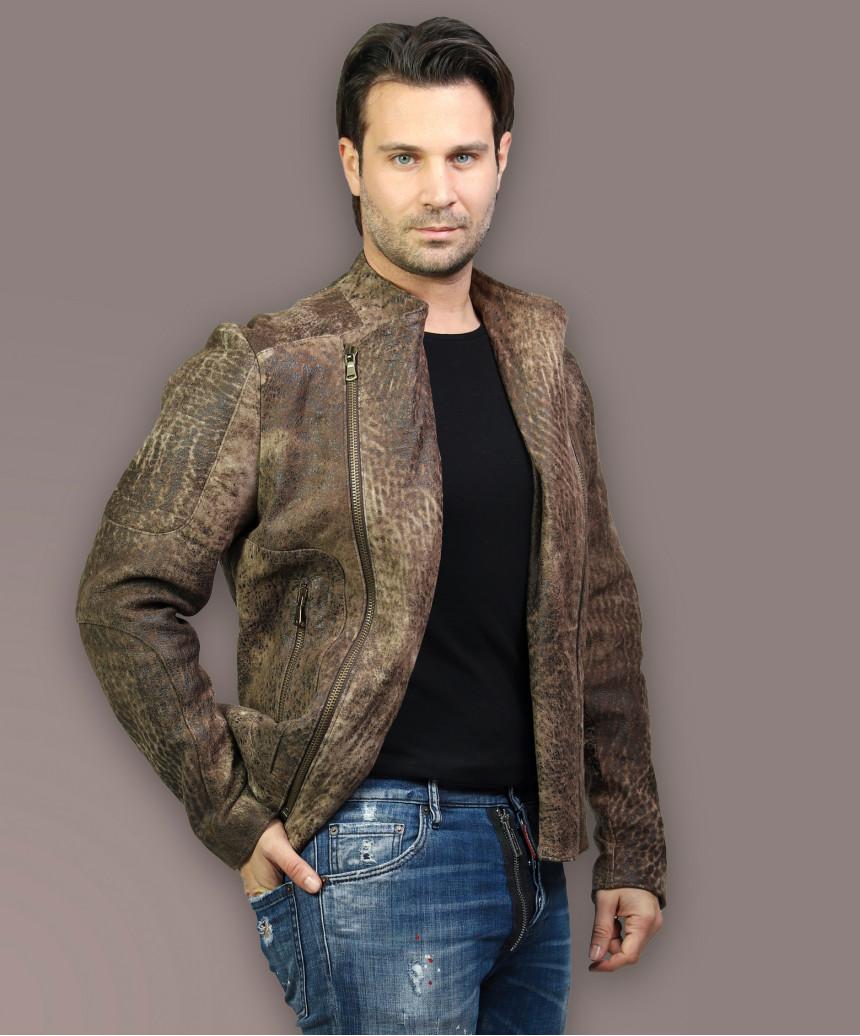 Biker Women - Jacket of Genuine Distressed White Leather - 5