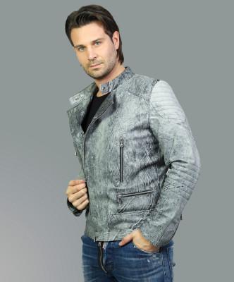 Biker Women - Jacket of Genuine Distressed White Leather - 6