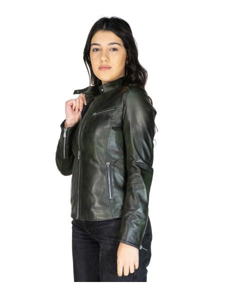 Chiodo Lino - Giacca Uomo in Vera Pelle colore Rosso Invecchiato
