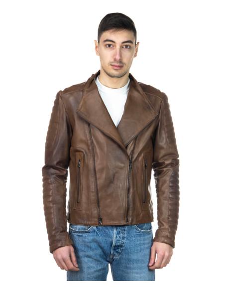 Chiodo Donna - Giacca in Vera Pelle con Cintura colore Rosa Morbida