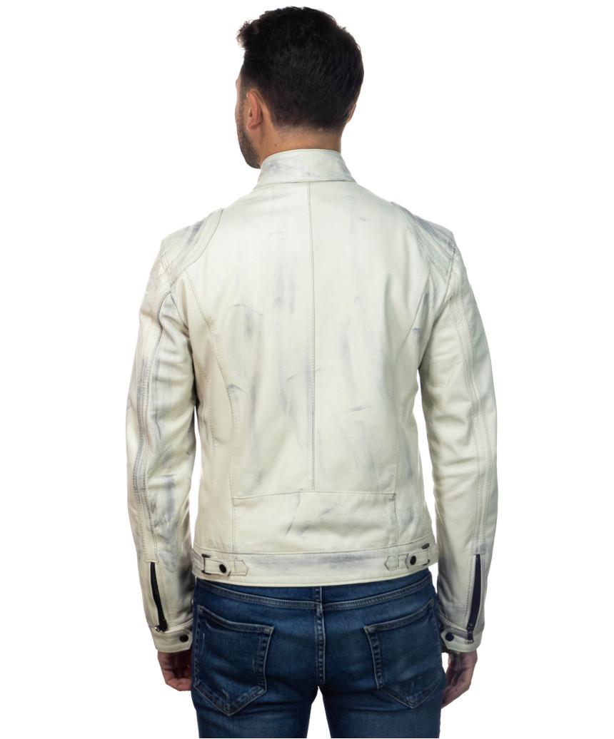 V246 - Men's Jacket in Genuine Blue Buffered Leather