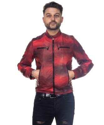 U010 - Giacca Uomo in Vera Pelle colore Rosso Invecchiato