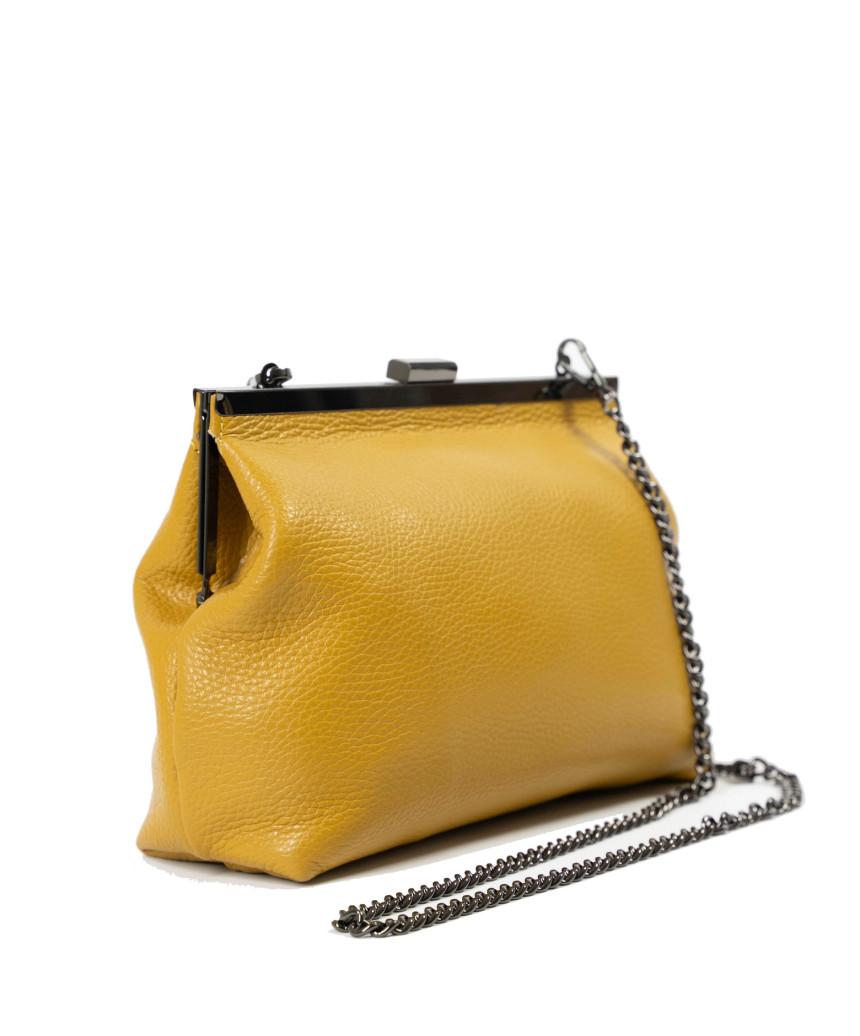 V173 - Giacca Donna in Vera Pelle colore Giallo Tamponato