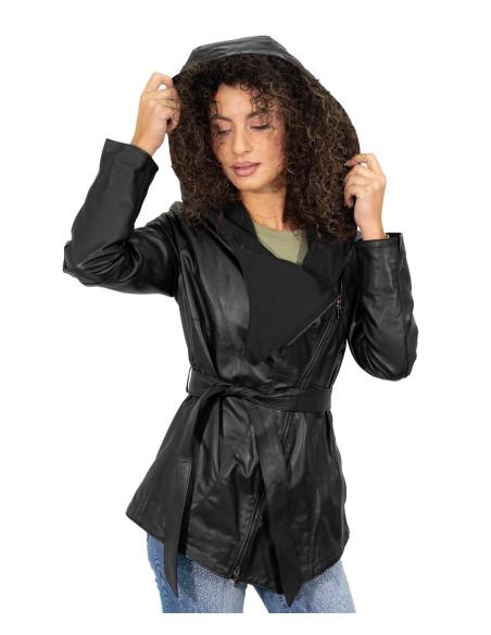 Elena - Women Jacket of Genuine Soft Black Leather - 1