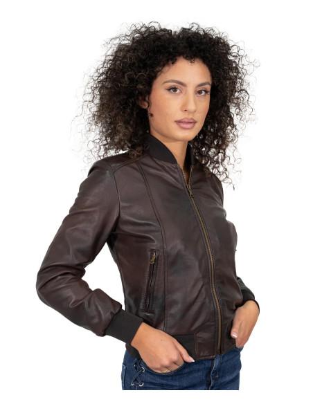 Chiodo Martina - Women Jacket of Genuine Soft Black Leather - 1