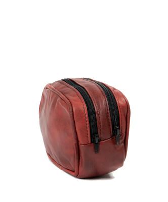 Chiodo Donna - Giacca in Vera Pelle con Cintura colore Rosso Corallo