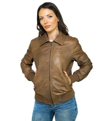 020 - Giacca Donna in Vera Pelle colore Rosso Morbida
