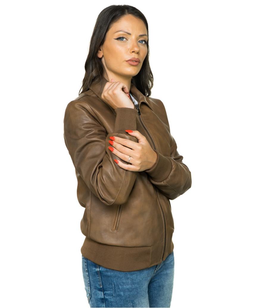 020 - Woman jacket in genuine leather, soft matt black color