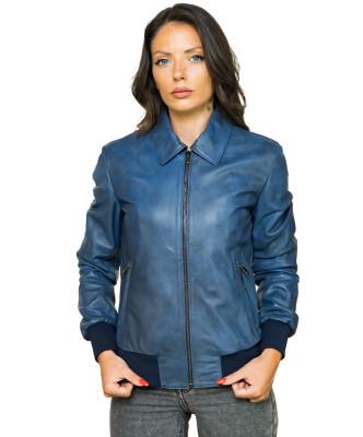 U06 - Men's Genuine Leather Jacket in Distressed Dark Green - 4