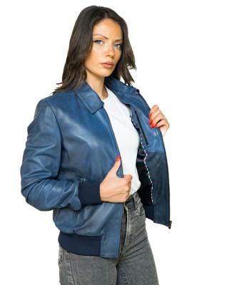 U05 - Men's Jacket of Genuine soft Dark Brown Leather - 5