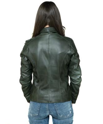 T100 - Giacca Donna con Cappuccio in Vera Pelle colore Testa di Moro Invecchiato
