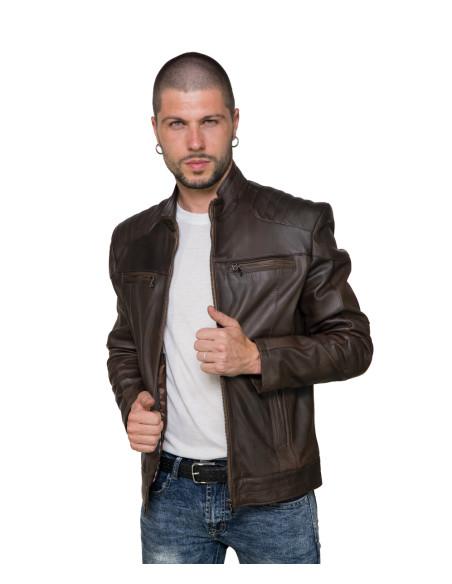 Avatar - Men's Jacket of Genuine Brown Oil Vintage Leather - 1
