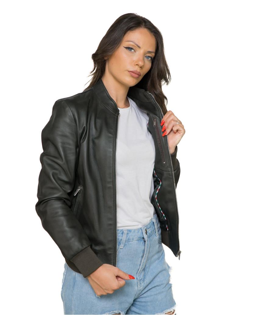 U06 - Men's Jacket in Genuine Aged Gray Soft Leather