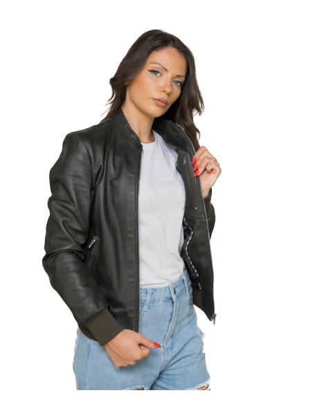 U06 - Herrenjacke aus echtem weichem grauem Vintage Leder - 1
