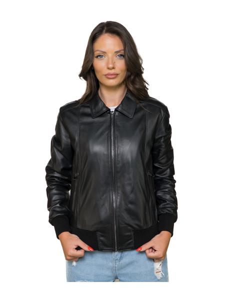Bomber Maverick - Men's Jacket of Genuine Dark Brown Oil Vintage Leather - 1