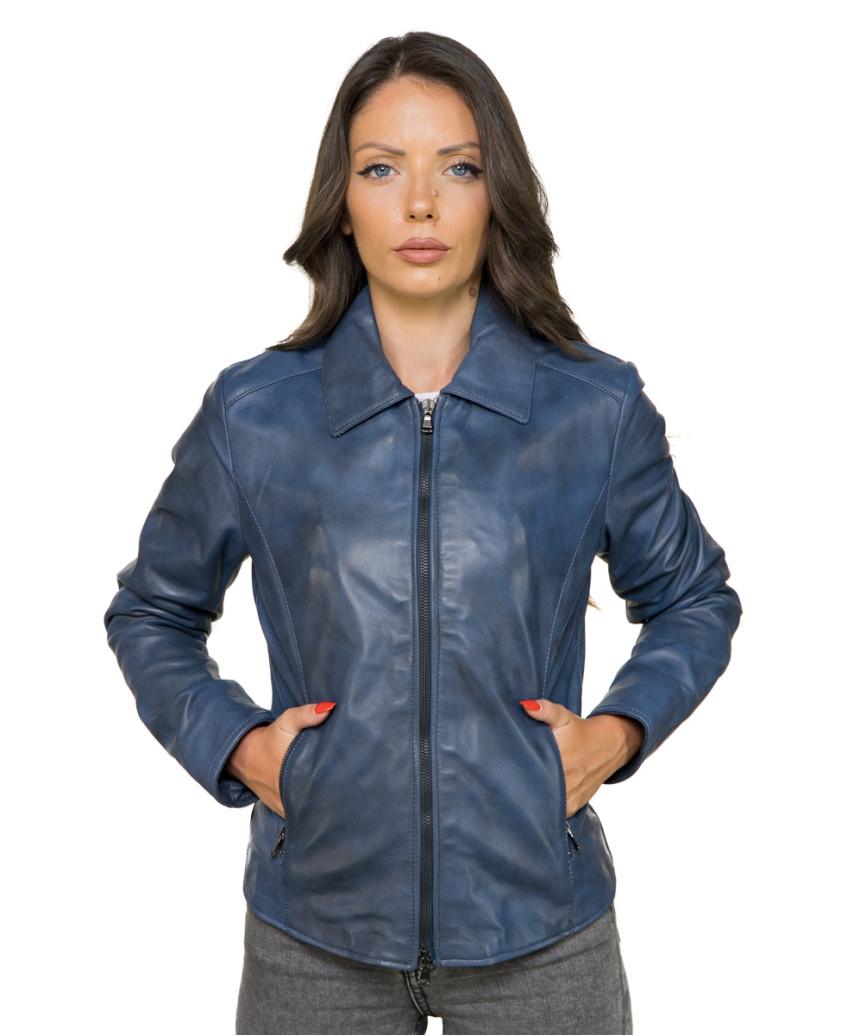 Raff - Women Genuine Matt Black Leather Jacket - 3