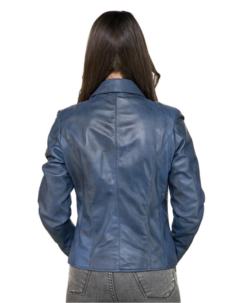Raff - Women Genuine Matt Black Leather Jacket - 4