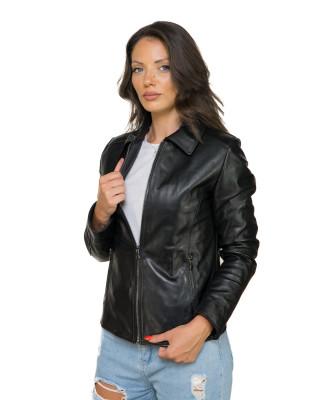 Monica - Giacca Donna in Vera Pelle colore Nero Morbida