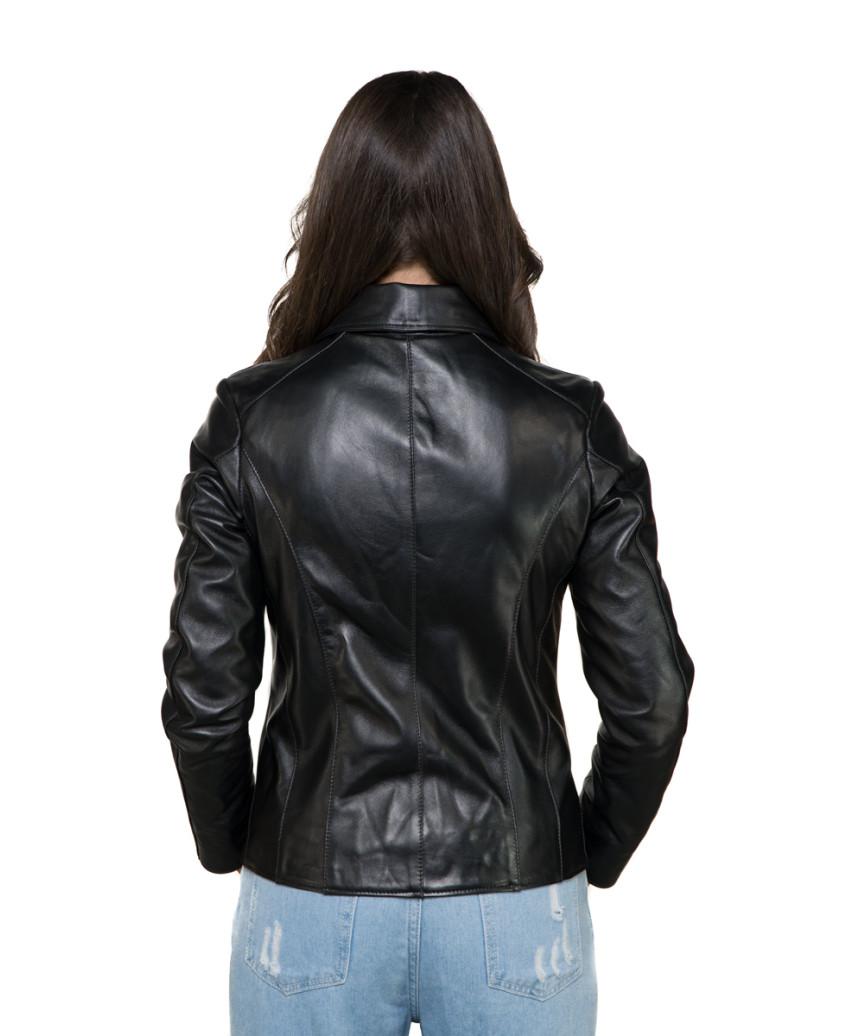 Monica - Women Genuine Soft Black Leather Jacket - 5