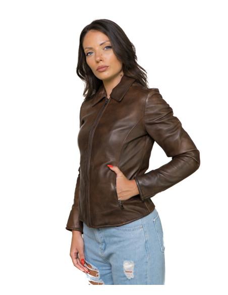 Chiodo Roma - Giacca Donna in Vera Pelle colore Nero Asportato