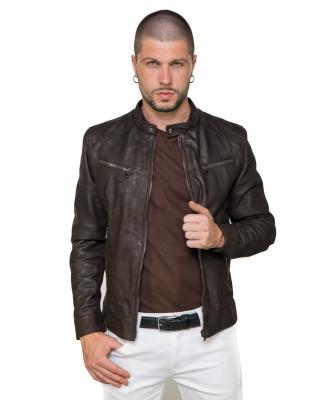 U06 - Men's Jacket of Genuine Green Oil Vintage Leather - 5