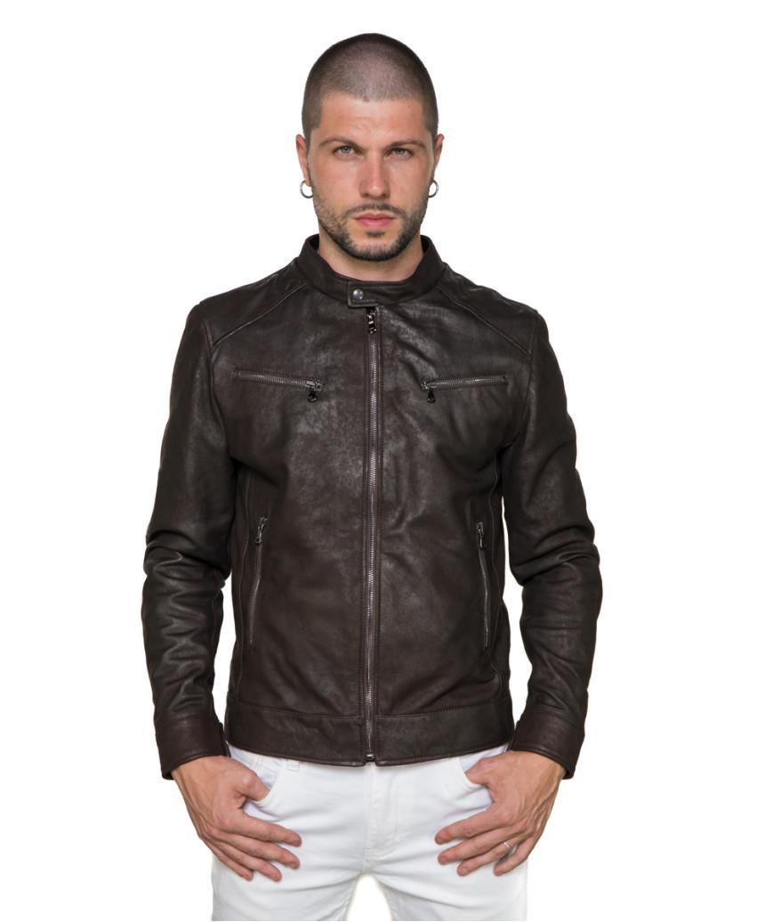 U06 - Men's Jacket of Genuine Green Oil Vintage Leather - 6