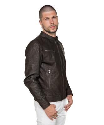 U06 - Men's Jacket of Genuine Green Oil Vintage Leather - 7