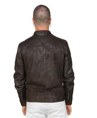 U06 - Men's Jacket of Genuine Green Oil Vintage Leather - 8