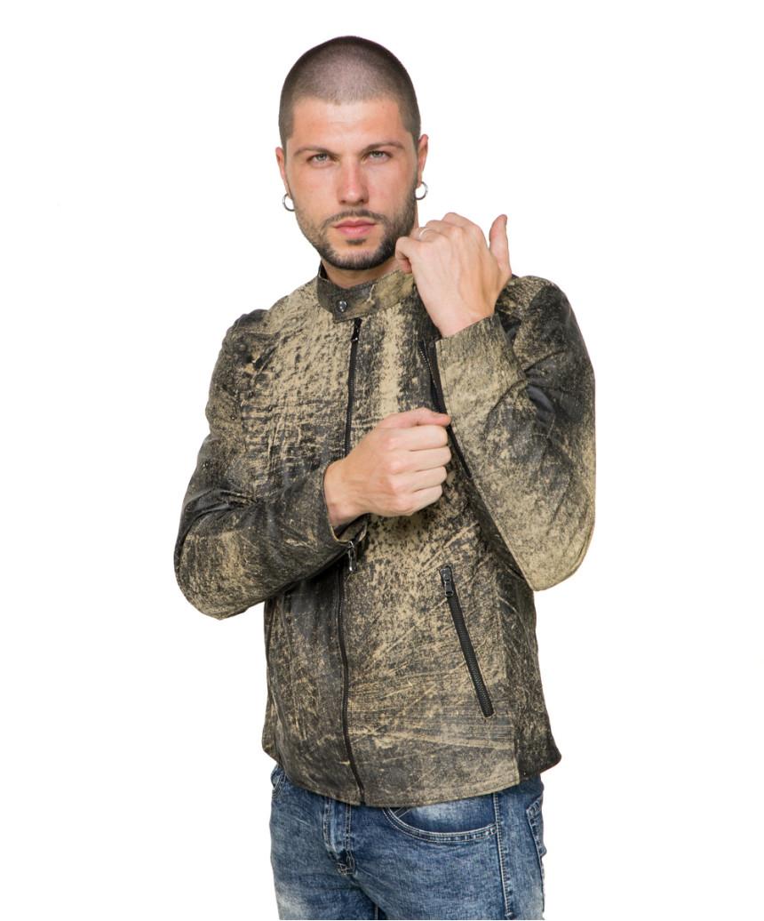 U05 - Men's Jacket of Genuine Brown Oil Vintage Leather - 5