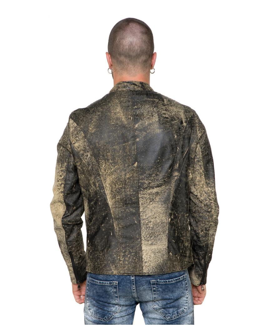 U05 - Men's Jacket of Genuine Brown Oil Vintage Leather - 6