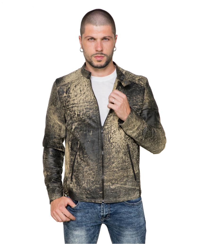 U05 - Men's Jacket of Genuine Brown Oil Vintage Leather - 7