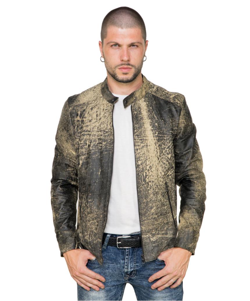 U04 - Men's Jacket of Genuine Soft Aged Brown Leather - 1