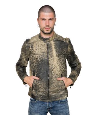 U04 - Men's Jacket of Genuine Soft Aged Brown Leather - 4