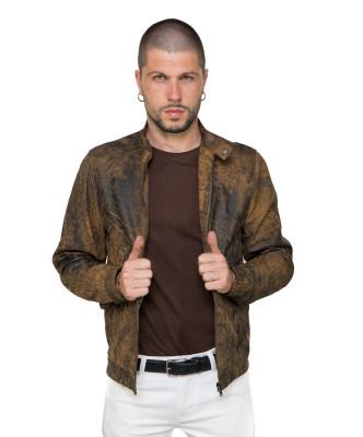 U04 - Men's Jacket of Genuine Soft Aged Brown Leather - 10