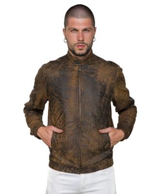 U04 - Men's Jacket of Genuine Soft Aged Brown Leather - 11