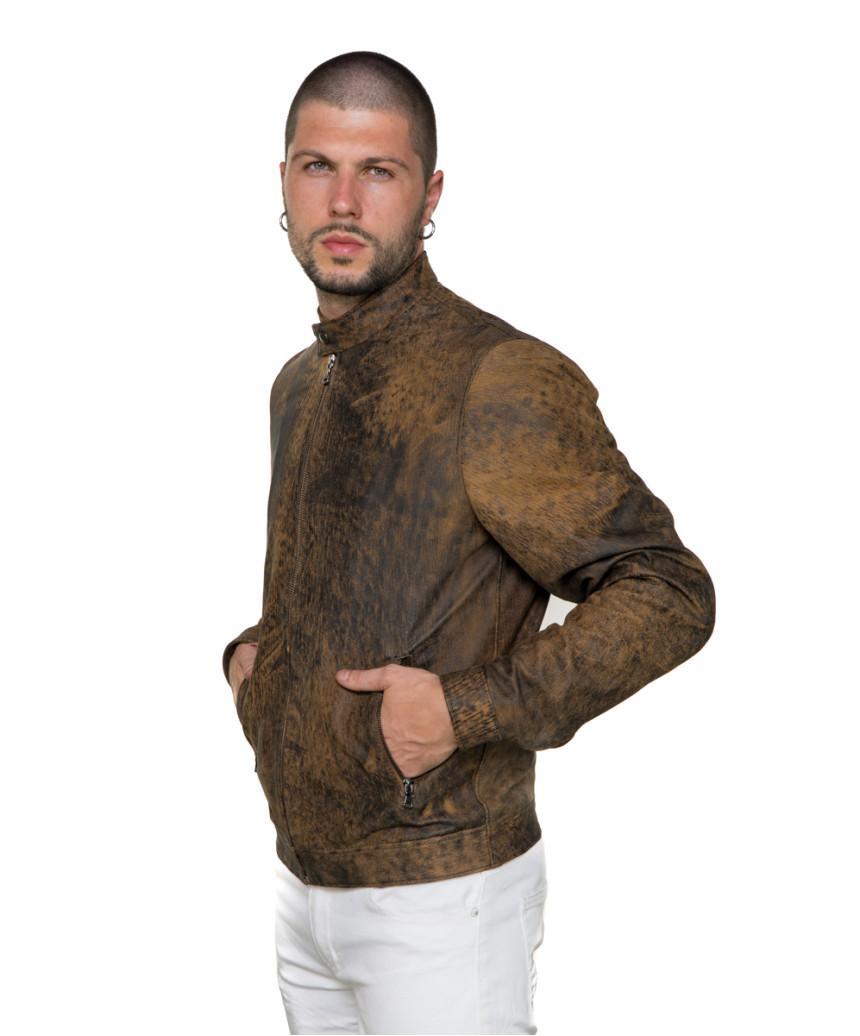 U04 - Men's Jacket of Genuine Soft Aged Brown Leather - 12