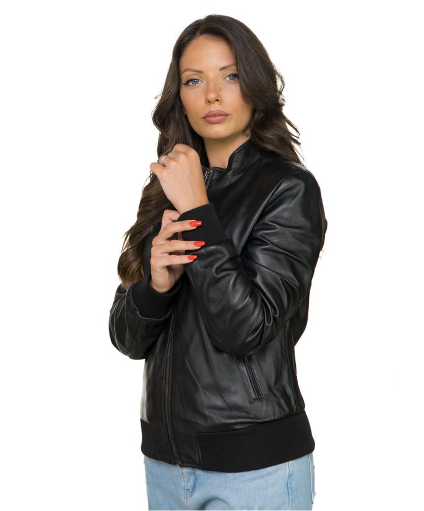 Chiodo Donna - Women Genuine Dark Brown Leather Jacket - 5