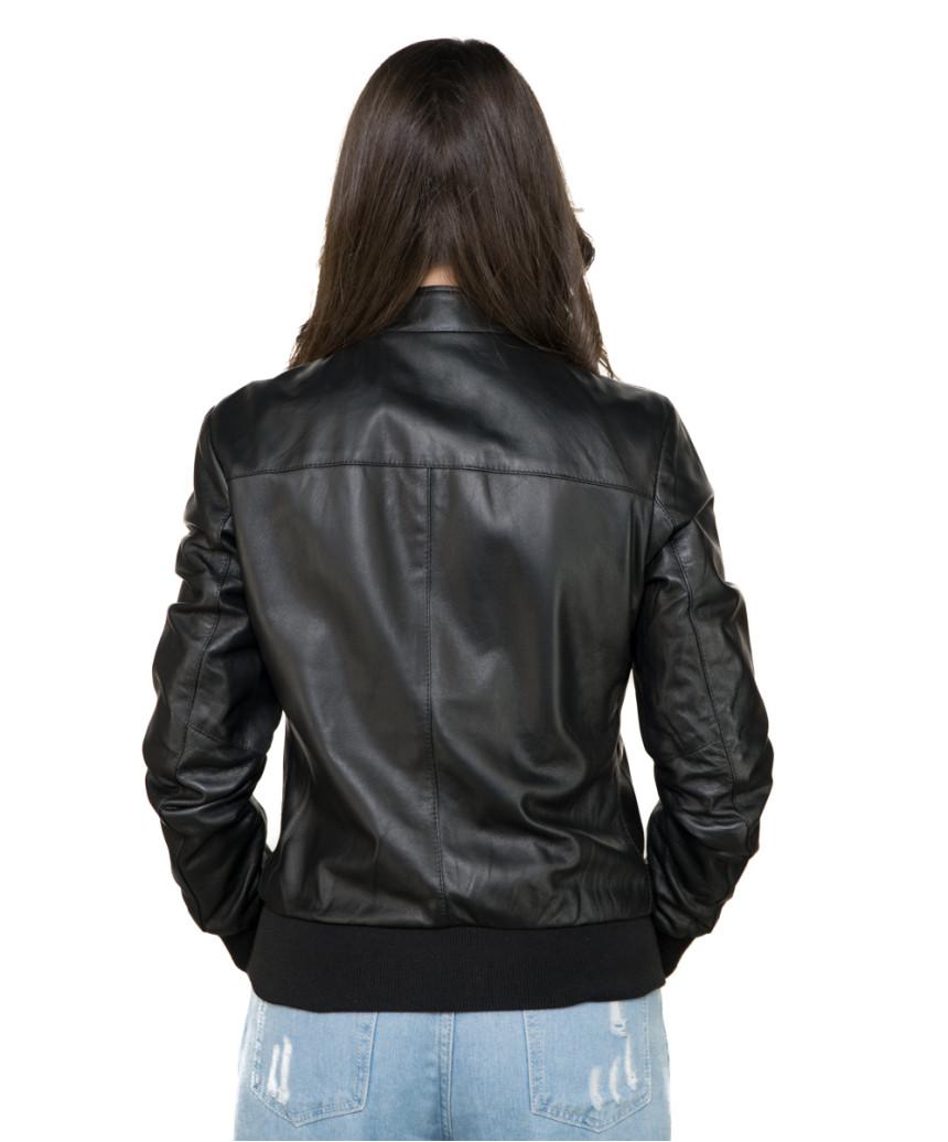 Chiodo Donna - Women Genuine Dark Brown Leather Jacket - 7