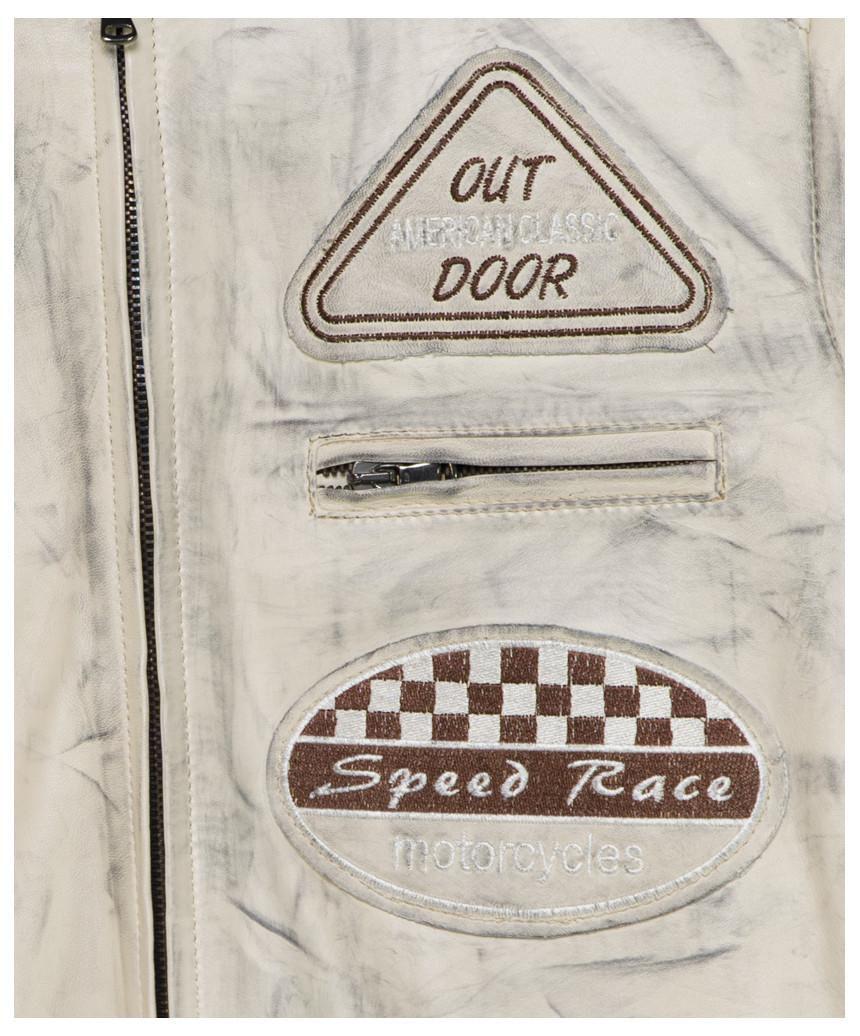 Raff Giacca Donna in Vera Pelle colore Blu Oil Vintage
