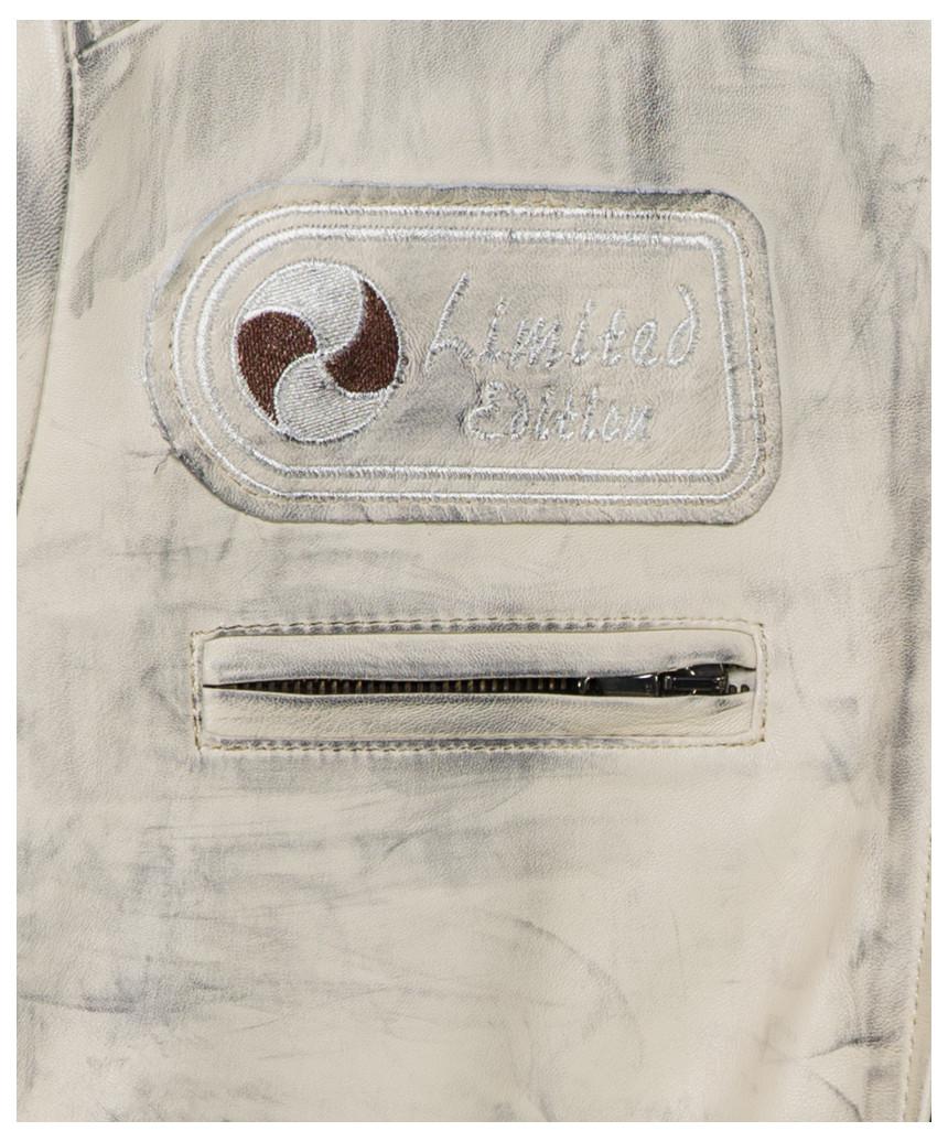 Raff - Giacca Donna in Vera Pelle colore Blu Oil Vintage - 3