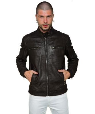 Vanessa - Giacca Donna in Vera Pelle colore Blu Oil Vintage - 1