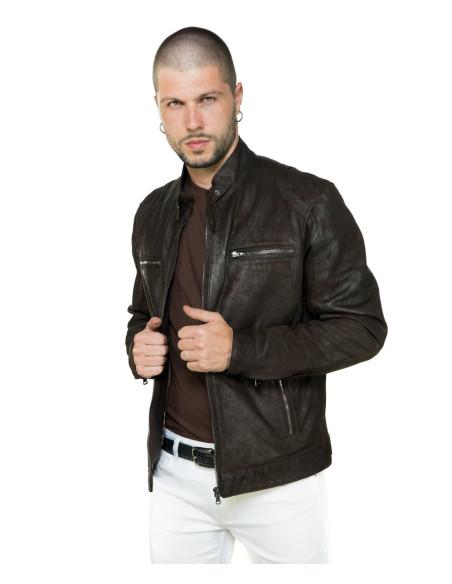 Vanessa - Giacca Donna in Vera Pelle colore Blu Oil Vintage - 4