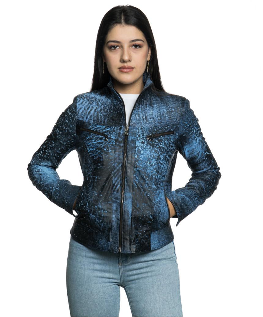 Violetta - Women Jacket Genuine Blue Oil Vintage Leather - 2