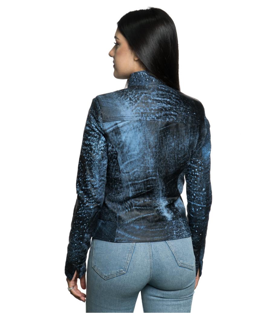 Violetta - Women Jacket Genuine Blue Oil Vintage Leather - 3