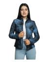 Violetta - Women Jacket Genuine Blue Oil Vintage Leather - 4