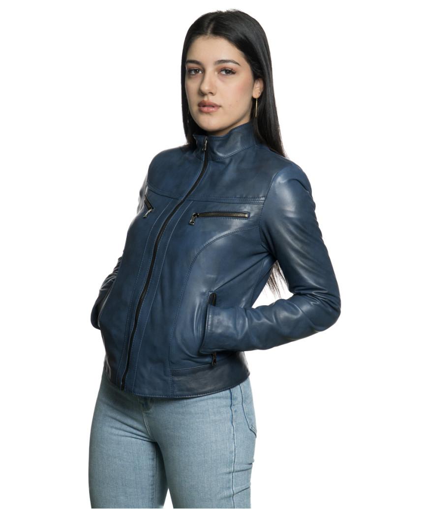Violetta - Women Jacket Genuine Blue Oil Vintage Leather - 5