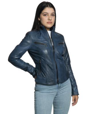 Violetta - Women Jacket Genuine Blue Oil Vintage Leather - 6