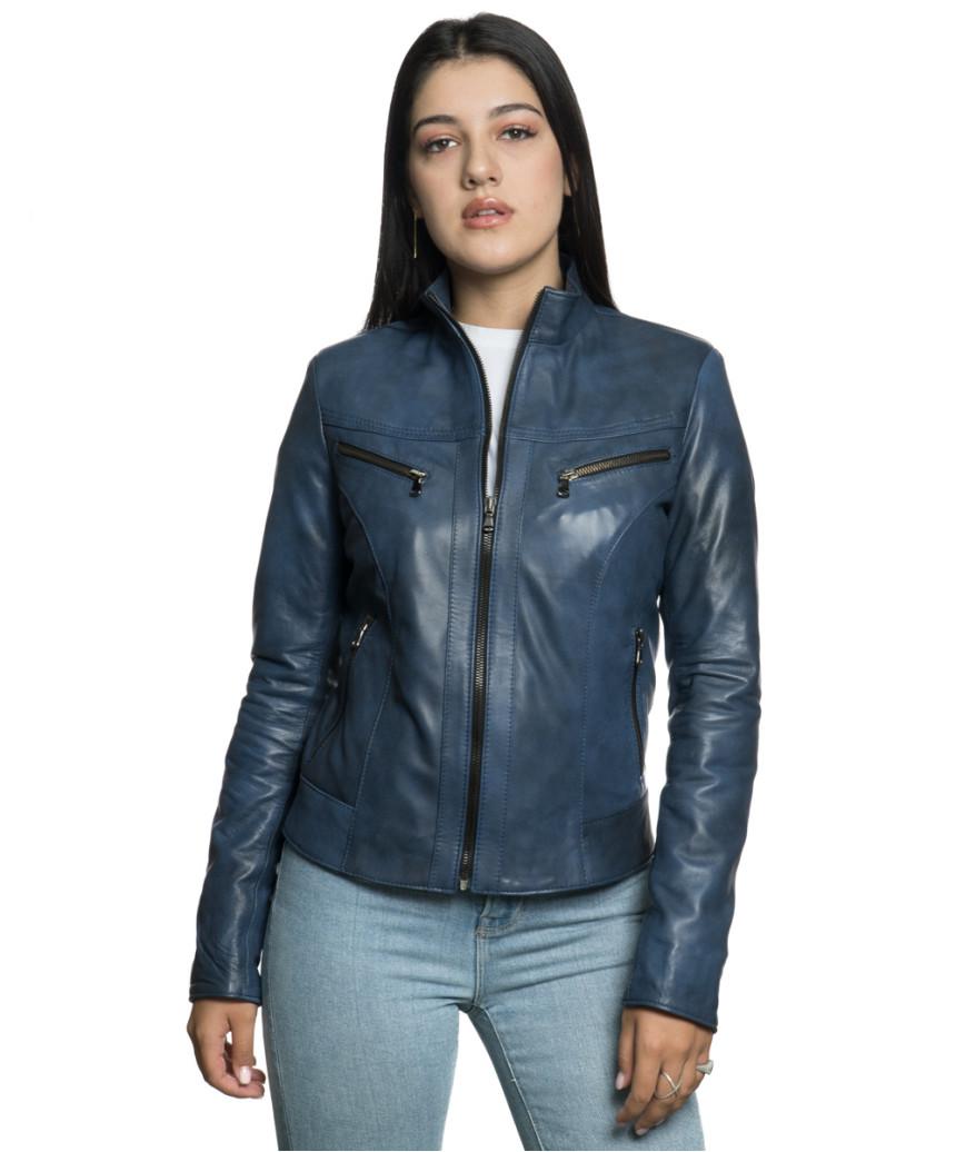 Violetta - Women Jacket Genuine Blue Oil Vintage Leather - 7