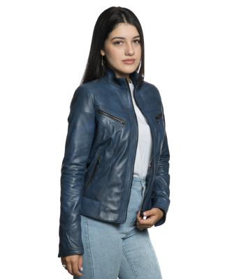 Violetta - Giacca Donna in Vera Pelle colore Rosso Invecchiato - 1
